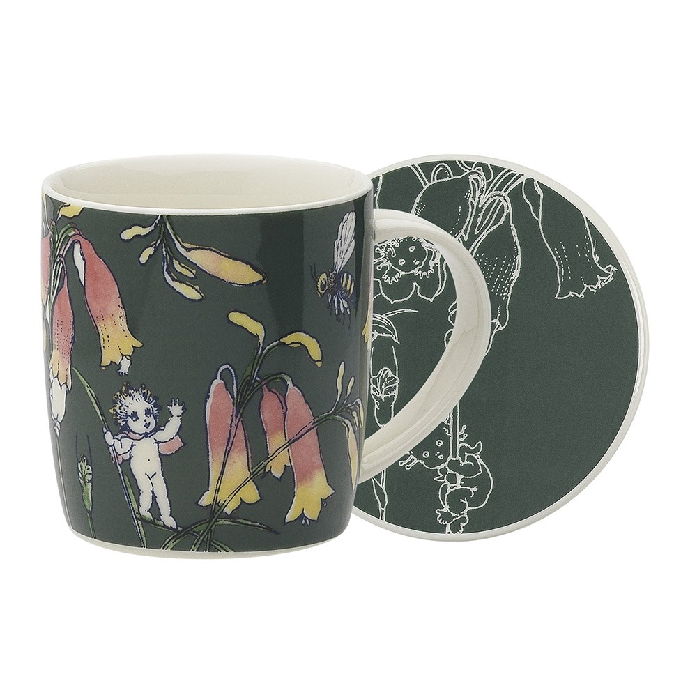 Ecology May Gibbs Flower Babies New Fine China Mug & Coaster Set 320ml Dark Green