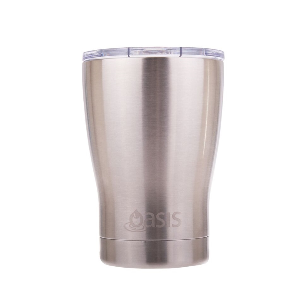 D Line Oasis Insulated Coffee Cup with Lid Silver