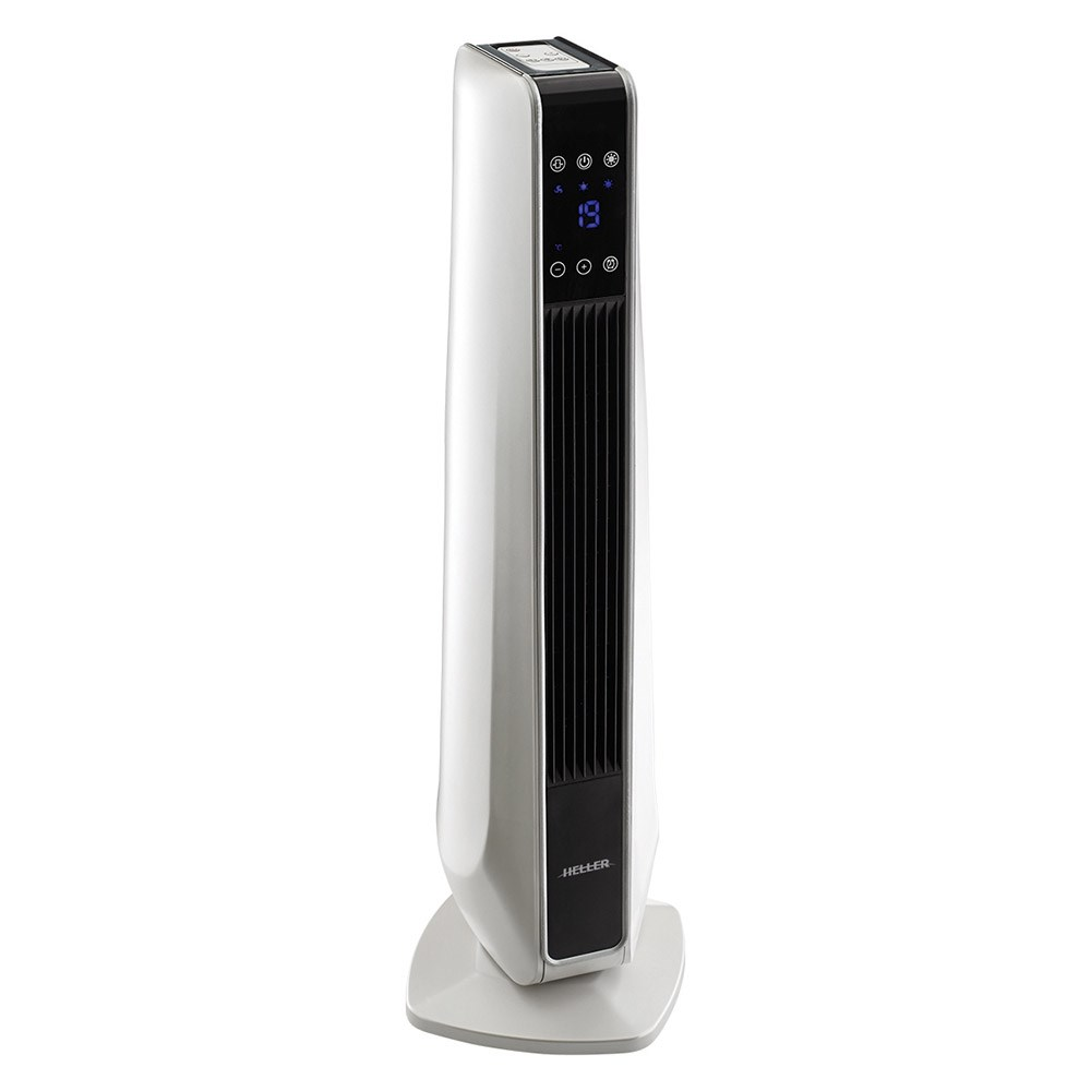 Heller Ceramic Oscillating Tower Fan Heater With Remote