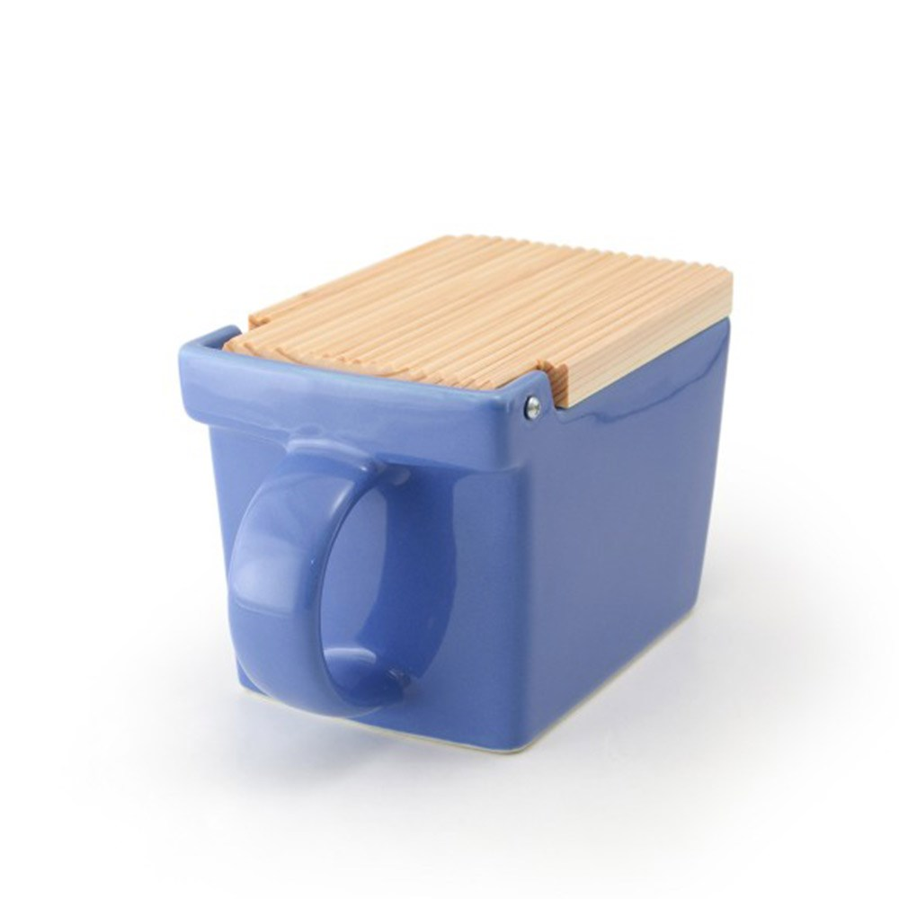 Zero Japan Ceramic Salt Box 10 x 16 x 10cm Blueberry Blue