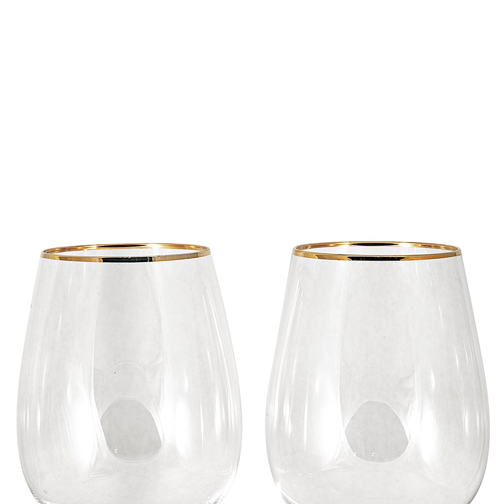 Cellar Premium Luxe 2-Piece Red Wine Glass Set with Gold Rim 480ml