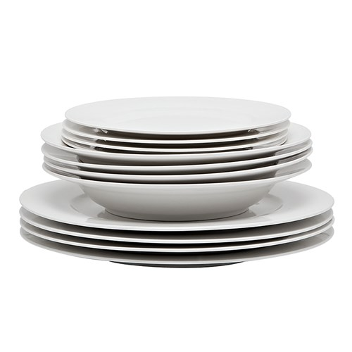 Alex Liddy Modern White Rim 12 Piece Dinner Set