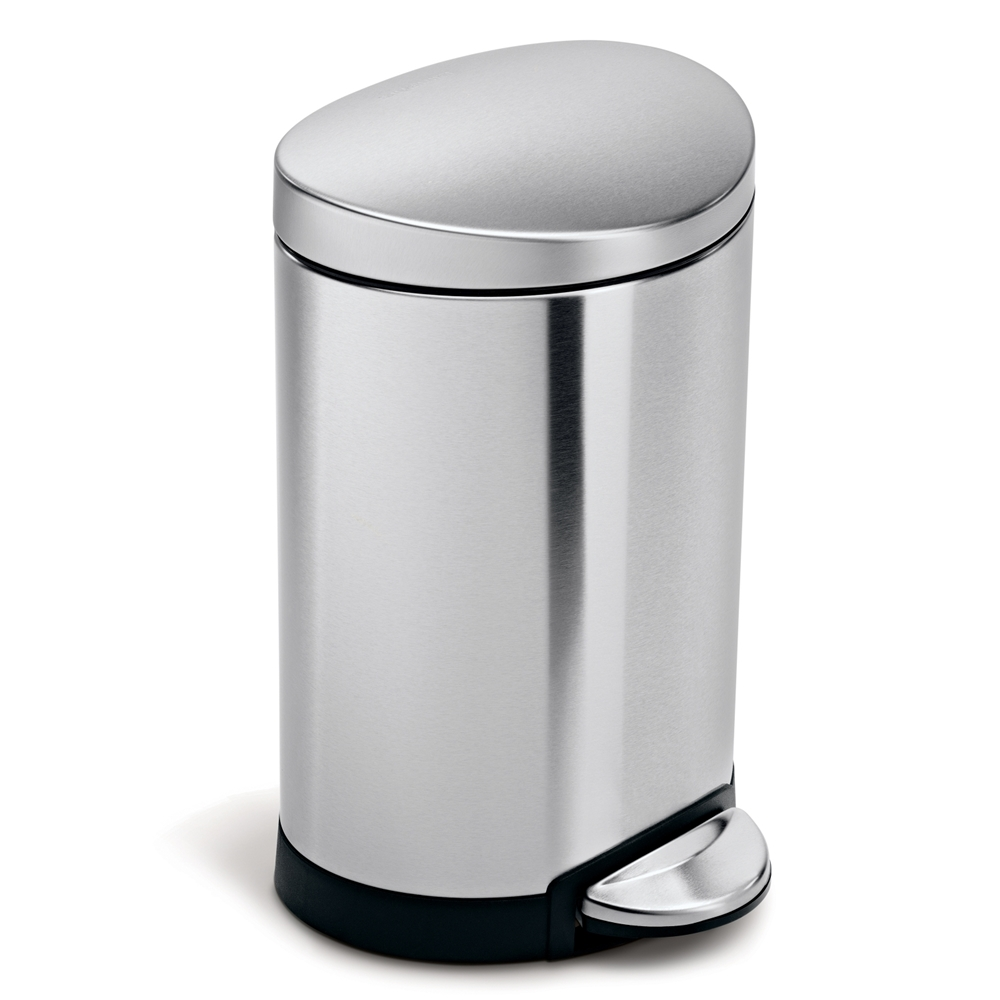 Simplehuman Semi Round Step Trash Can 6l Stainless Steel