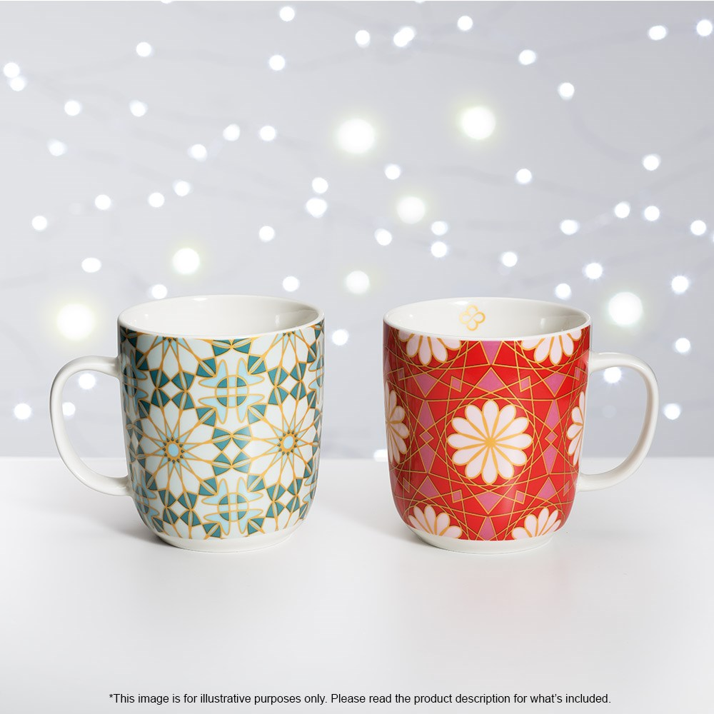 Marie Claire Mosaique Mug 400ml Set of 2 Red
