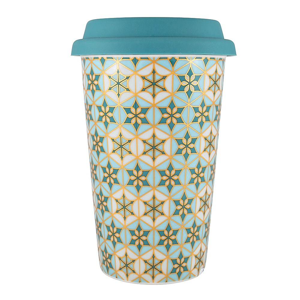 Marie Claire Mosaique Double Wall New Bone China Travel Mug 340ml Teal