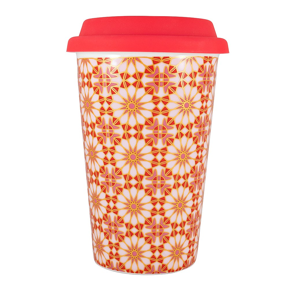 Marie Claire Mosaique Double Wall New Bone China Travel Mug 340ml Red