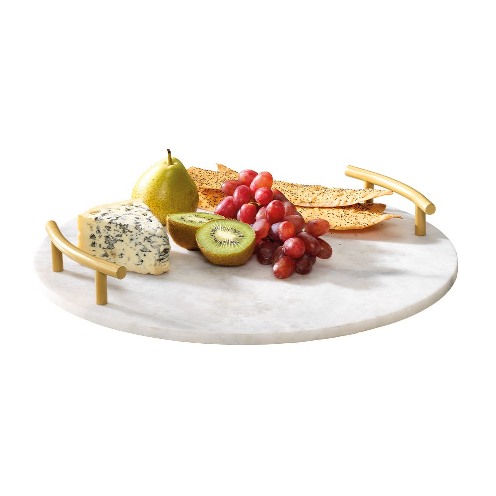 Alex Liddy Slate Co Round Marble Serving Board With Handles 40cm Platters Robins Kitchen