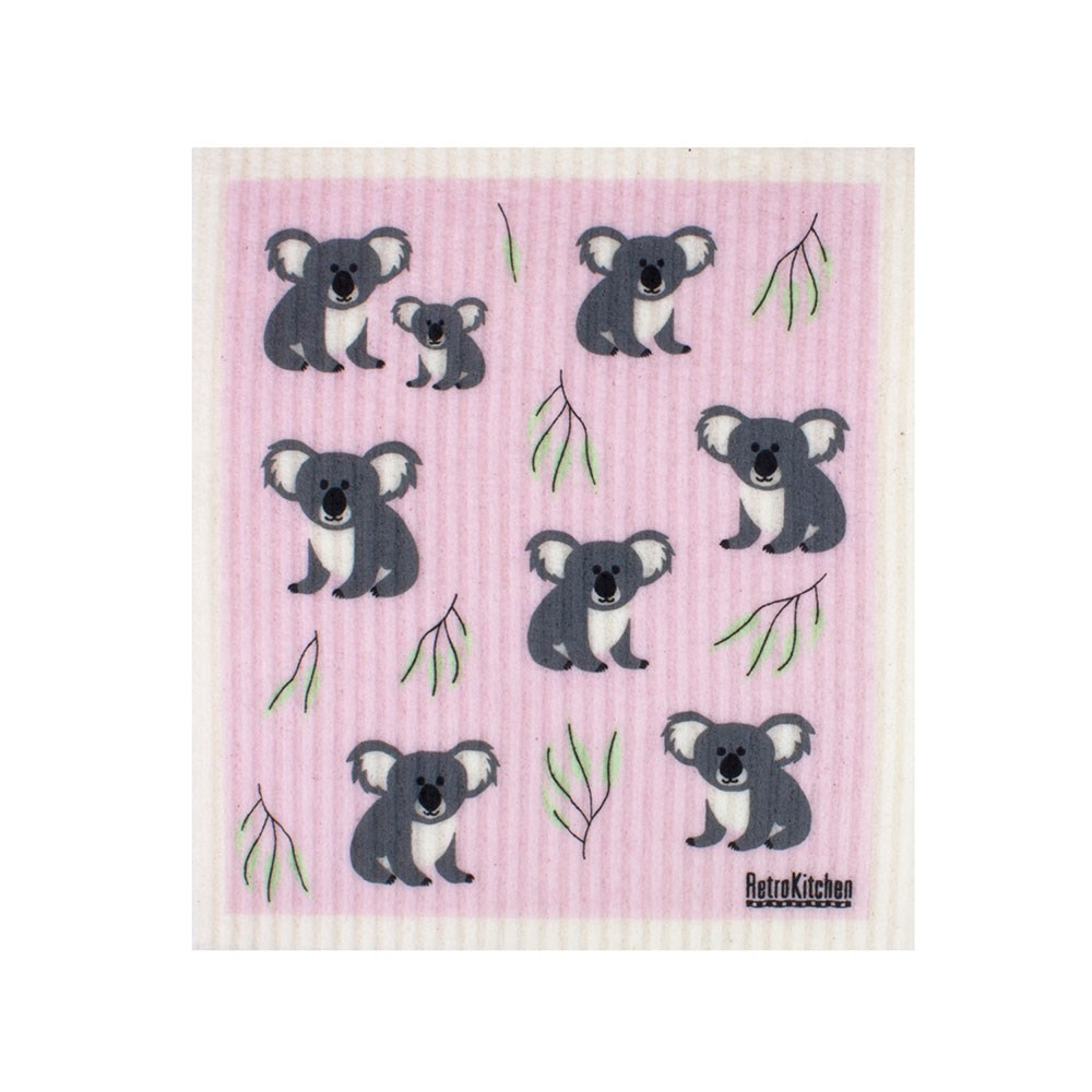 RetroKitchen Compostable Kitchen Sponge Cloth Sketch Koala Design