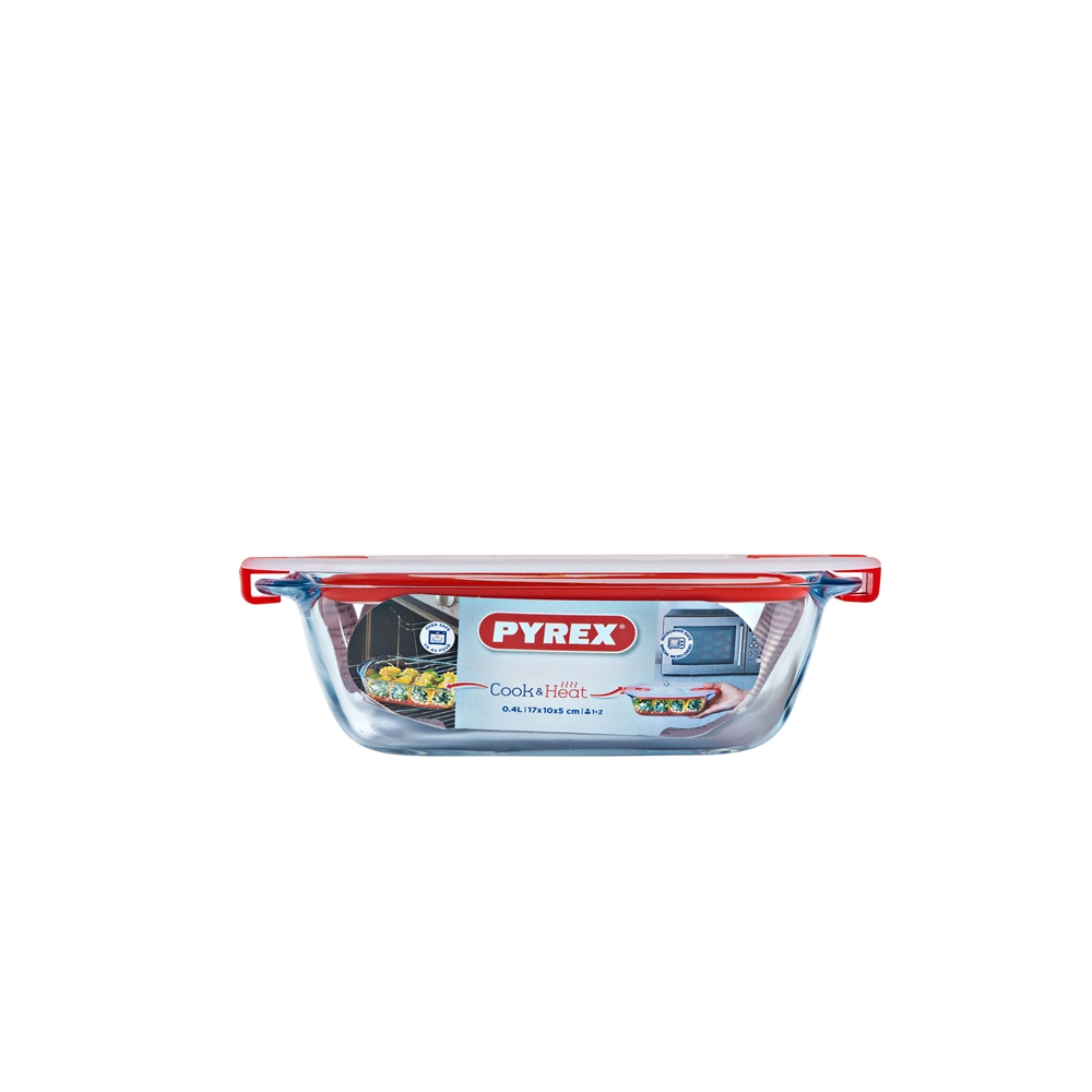 Pyrex Cook & Heat Rectangle Dish with Lid 400ml