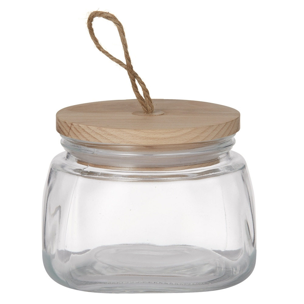 Pantry 1l square glass canister with lid canisters for Glass bathroom canisters