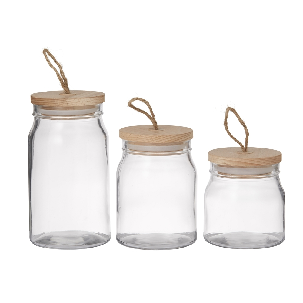 pantry set of 3 round glass storage canister with lid