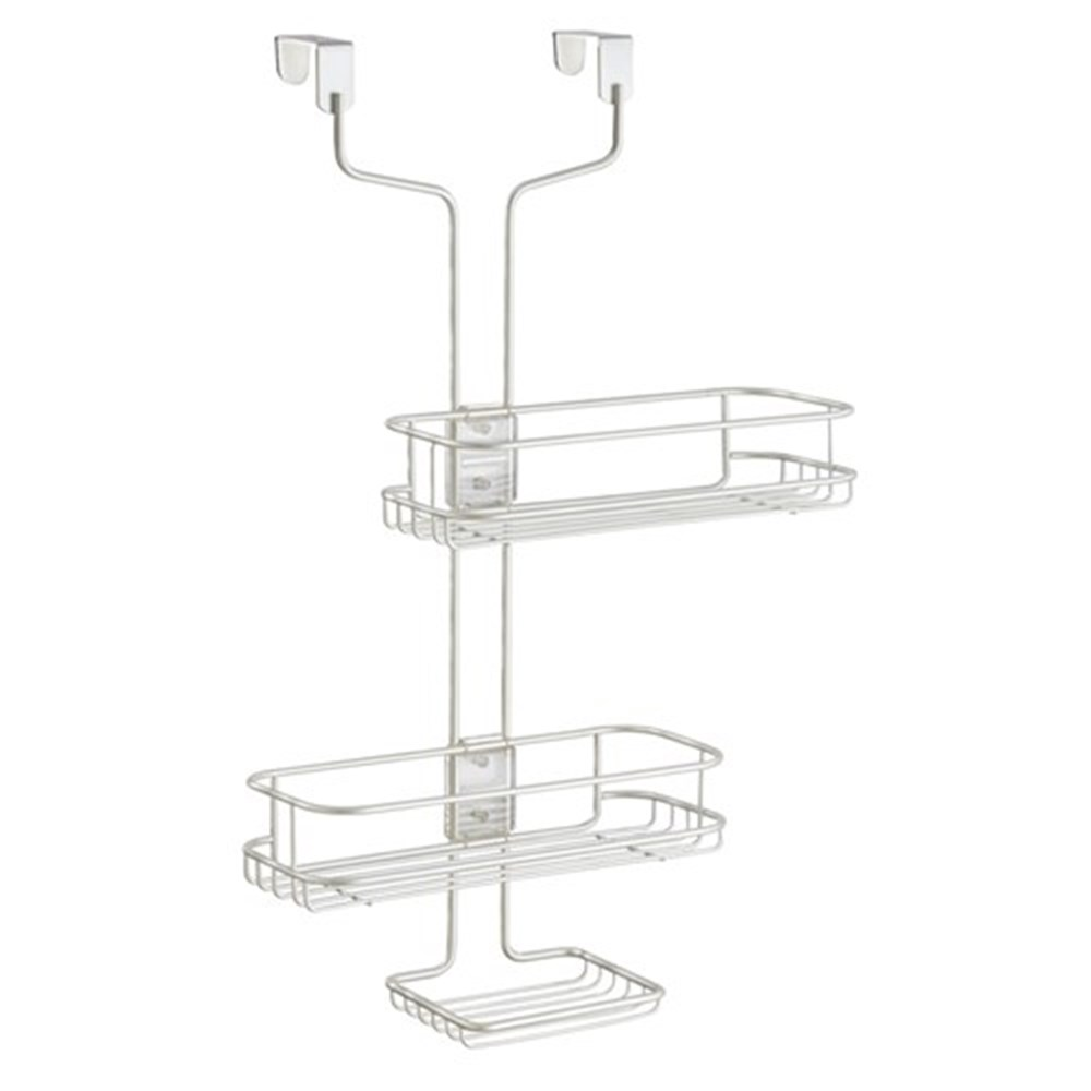 Interdesign Linea White Adjustable Over The Door Shower Caddy