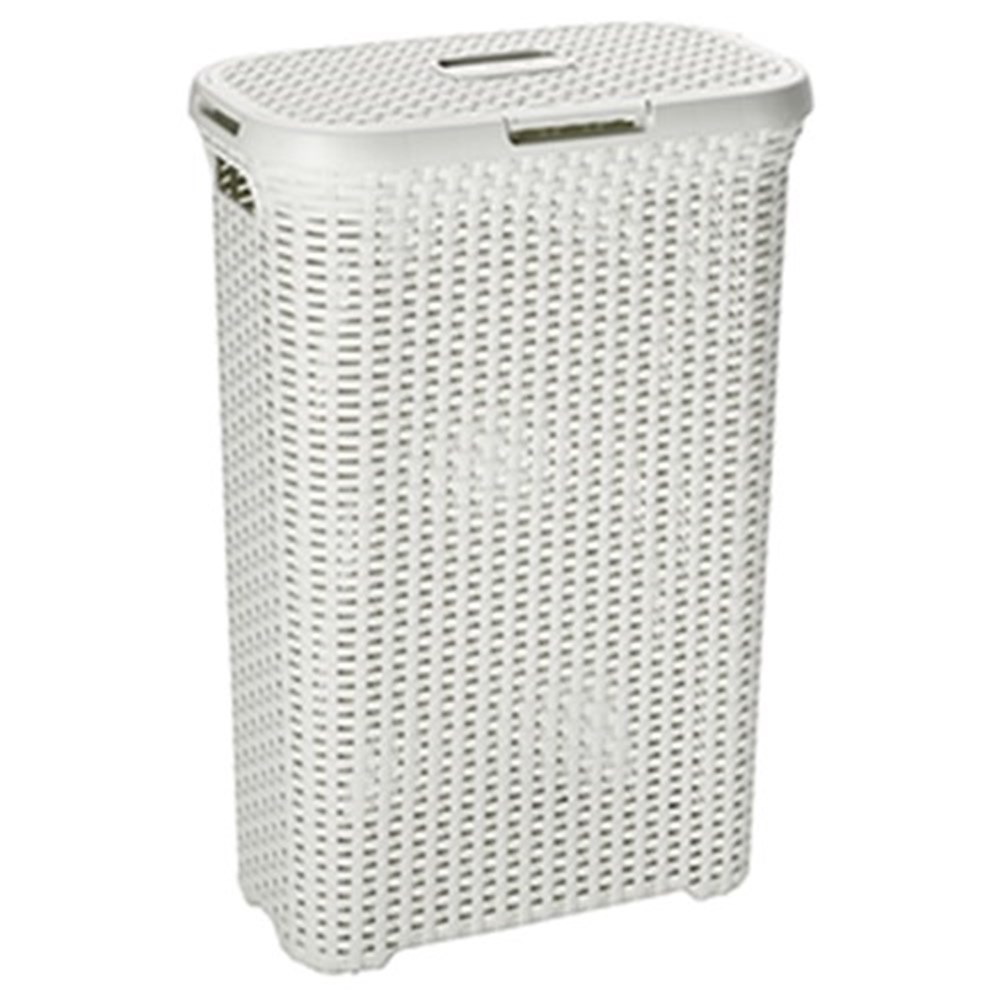 Curver style rattan 60l laundry hamper cream bathroom accessories robins kitchen - Rattan laundry hamper ...