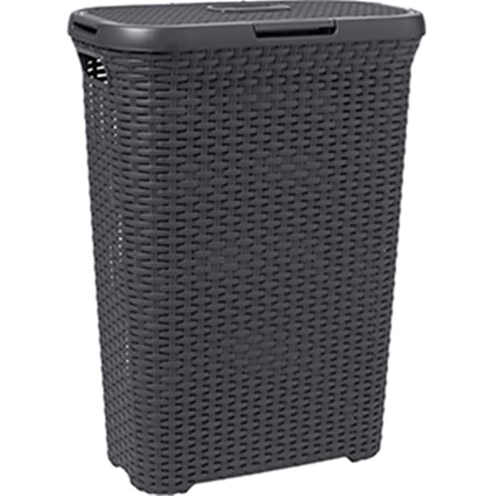 Curver style rattan 60l laundry hamper charcoal bathroom for Charcoal bathroom accessories