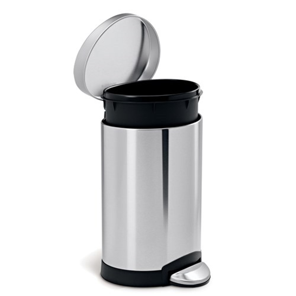 Simplehuman Semi-Round Step Trash Can 6L Stainless Steel ...