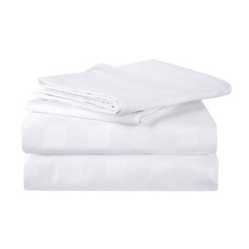 Royal Comfort 1200TC Cotton Single Sheet Set Stripe White