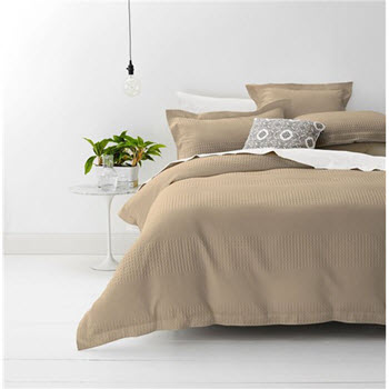 Style & Co Cotton Jacquard Waffle Single Quilt Cover Set Stone