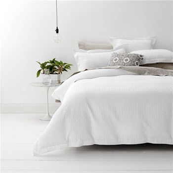 Style & Co Cotton Jacquard Waffle Double Quilt Cover Set White