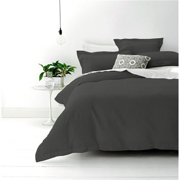 Style & Co Cotton Jacquard Waffle Double Quilt Cover Set Granite