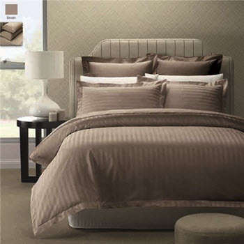 Style & Co 1000TC Egyptian Cotton Stripes Quilt Cover Queen Set Stone