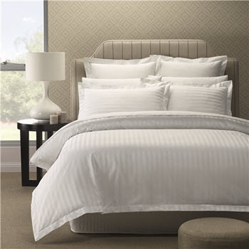 Style & Co 1000TC Egyptian Cotton Stripes Quilt Cover King  Set White