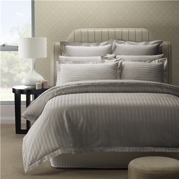 Style & Co 1000TC Egyptian Cotton Stripes King Quilt Cover Set Pewter