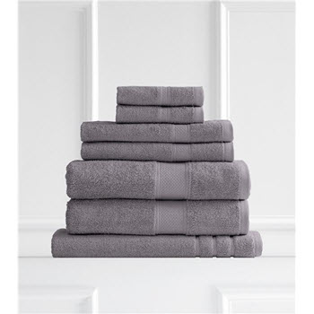 Renee Taylor Clarrisa Egyptian Cotton 600GSM 7 Piece Towel Set Granite