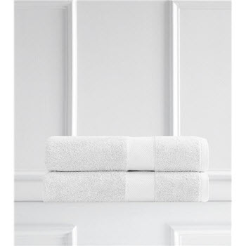 Renee Taylor Clarrisa Egyptian Cotton 600GSM 2 Pack Bath Sheets White