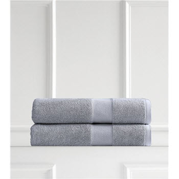 Renee Taylor Clarrisa Egyptian Cotton 600GSM 2 Pack Bath Sheets Blue Grey