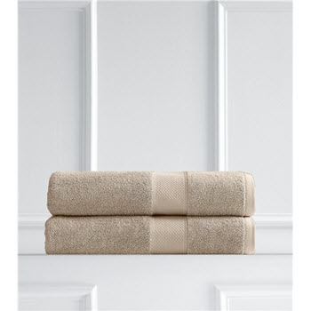 Renee Taylor Clarrisa Egyptian Cotton 600GSM 2 Pack Bath Sheets Whisper