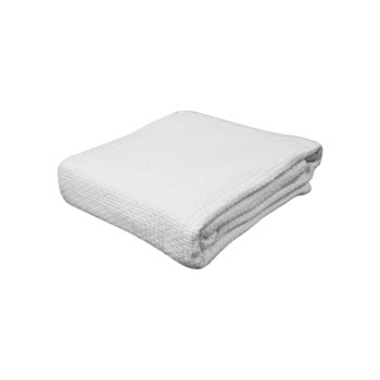 Kommotion Cotton Pebble Weave White Cot Blanket