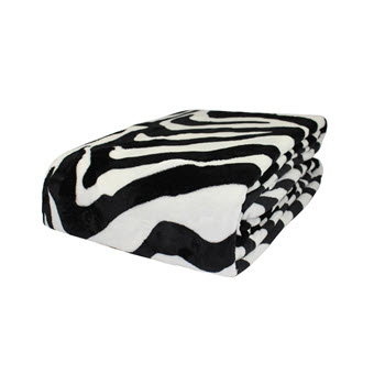 Odyssey Living Trend Zebra Print Super Soft Blanket Queen/King