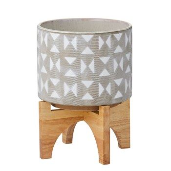 Rogue Hudson Ceramic Pot with Wooden Stand 20 x 20 x 26cm Grey