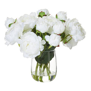 Artificial Peonies with Radiant Vase