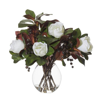 Rogue Artificial Magnolias with Cannonball Vase