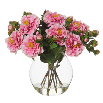 Artificial Camelias with Cannonball Vase