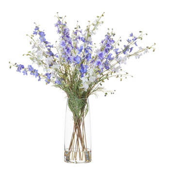 Rogue Artificial Delphiniums with Strata Vase