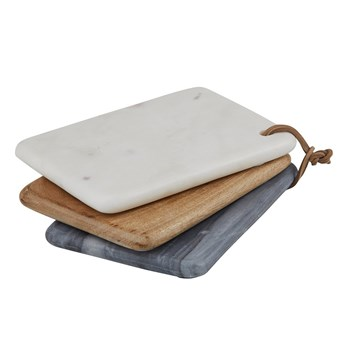 Amalfi Marble & Mango Wood 3-Piece Mini Board Set 21 x 15 x 4cm