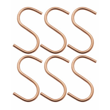Academy Orwell Copper Set of 6 Small S Hooks