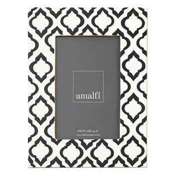"Amalfi Sari Resin 4 x 6"" Photo Frame Cream White & Black"