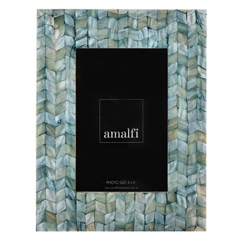 "Amalfi Romi Mother of Pearl 4 x 6"" Photo Frame 17 x 22cm Green"