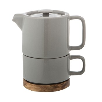 Leaf & Bean Soren Stoneware Tea For One with Stainless Steel Infuser Grey