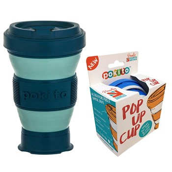 Leaf & Bean Plastic Pokito Pop Up Cup 475ml Green & Black