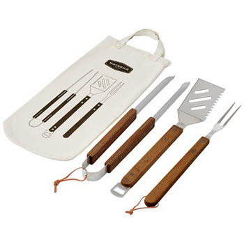 Davis & Waddell Maverick Acacia 3 Piece BBQ Tool Set In Bag