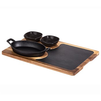 Davis & Waddell Fine Foods 4 Piece Skillet, Cheese Board & Bowls Sharing Set