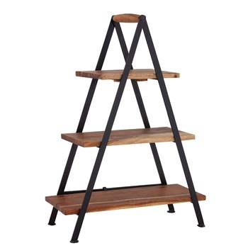Davis & Waddell Fine Foods Acacia Wood & Iron Three-Tier Serving Stand 23 x 48 x 68cm