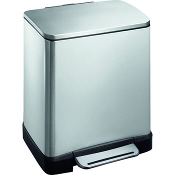 Eko 20L Rectangular Step Can  Bin Stainless Steel