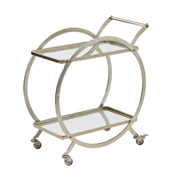 Amalfi Walter Silver Metal Drinks Trolley 72 x 80cm