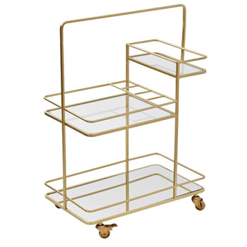 Amalfi Rocca Gold Metal Drinks Trolley 70 x 96cm