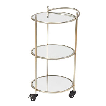 Amalfi Yarra Silver Metal Drinks Trolley 40 x 80cm